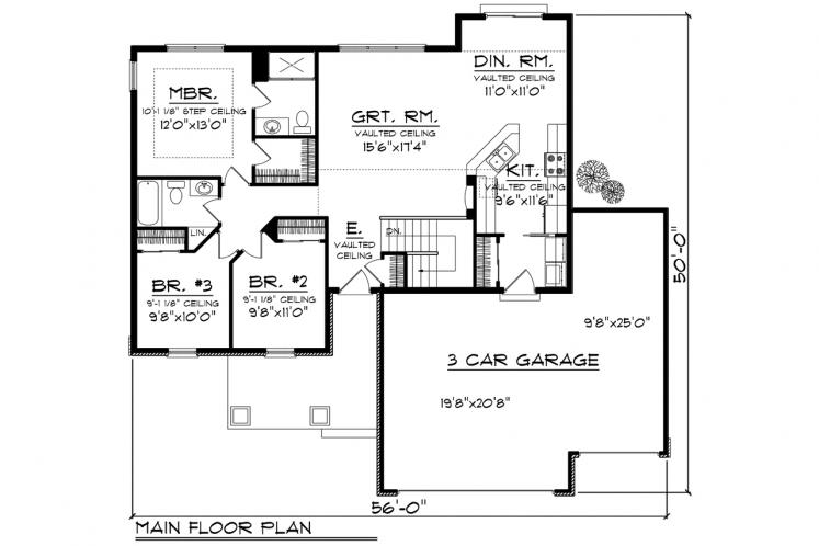 Traditional House Plan -  38495 - 1st Floor Plan