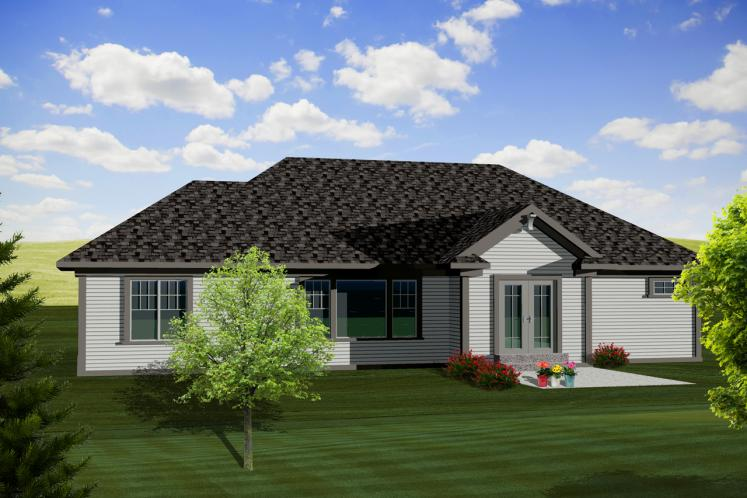 Craftsman House Plan -  38564 - Rear Exterior