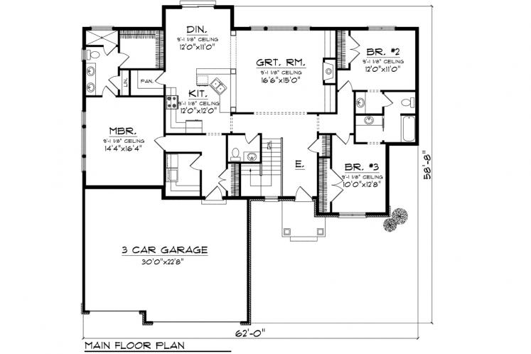 Ranch House Plan -  38564 - 1st Floor Plan