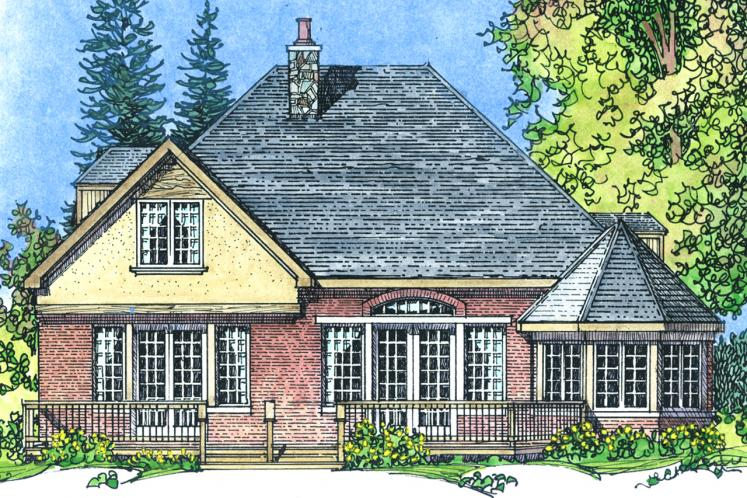 European House Plan -  38573 - Rear Exterior