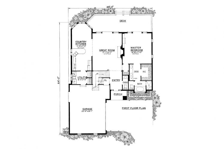 Country House Plan -  38573 - 1st Floor Plan