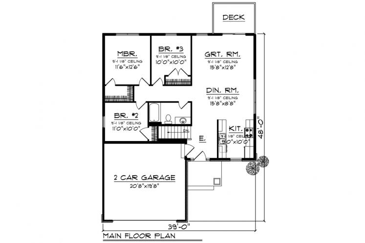 Traditional House Plan -  38760 - 1st Floor Plan