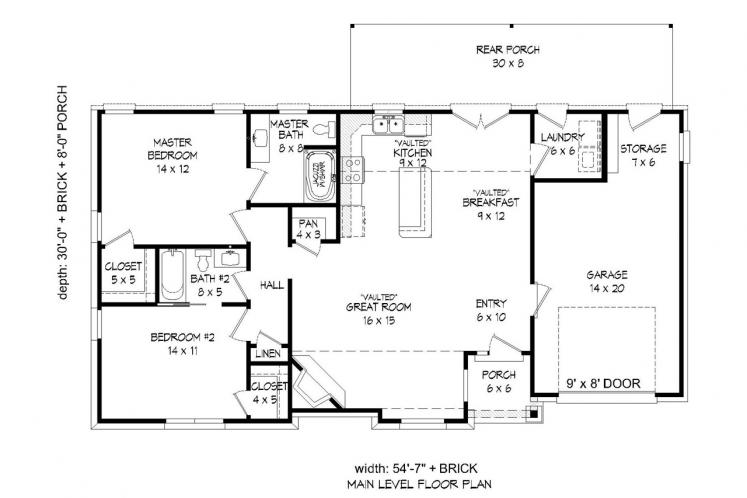 Traditional House Plan - Marble Falls 39208 - 1st Floor Plan