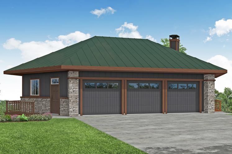 Lodge Style Garage Plan -  39277 - Front Exterior