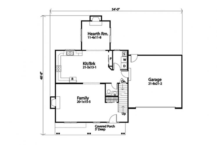 Traditional House Plan -  39457 - 1st Floor Plan