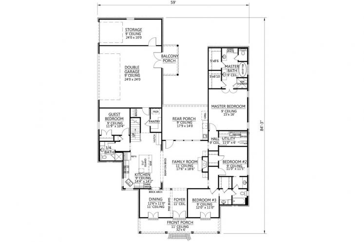 Classic House Plan - Bourgeois 39618 - 1st Floor Plan