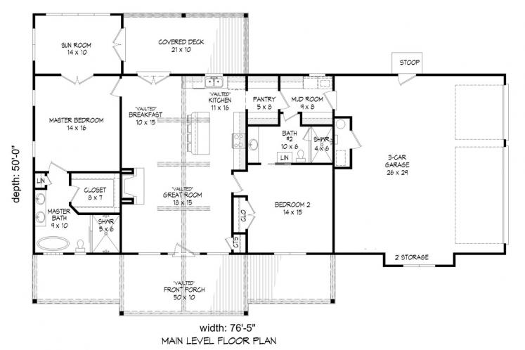 Ranch House Plan - Glenrock II 39831 - 1st Floor Plan