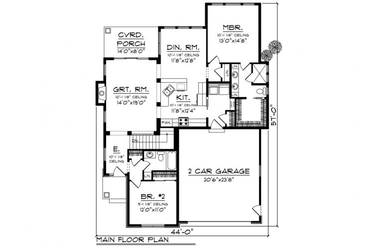 Craftsman House Plan -  39965 - 1st Floor Plan