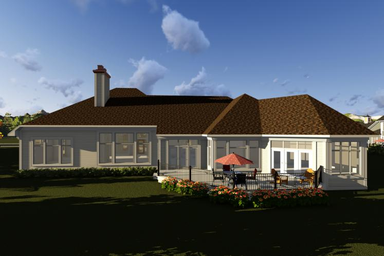 Southern House Plan -  40038 - Rear Exterior