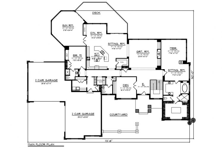 Classic House Plan -  40038 - 1st Floor Plan