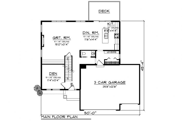 Contemporary House Plan -  40106 - 1st Floor Plan