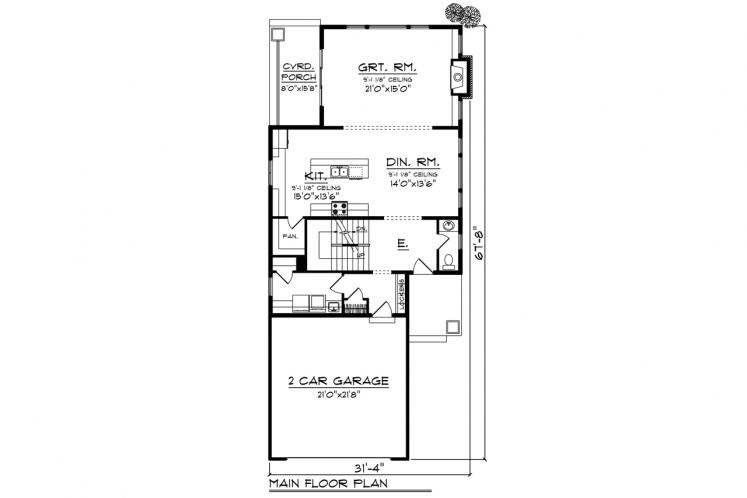 Craftsman House Plan -  40111 - 1st Floor Plan