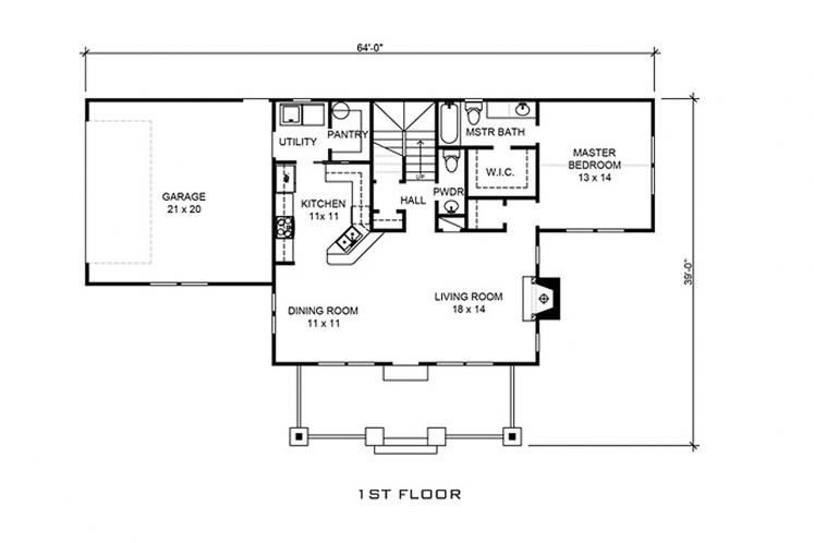 Bungalow House Plan - Rollingwood 40299 - 1st Floor Plan