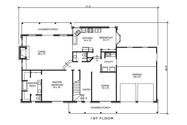 Farmhouse House Plan - Lockhart 40364 - 1st Floor Plan