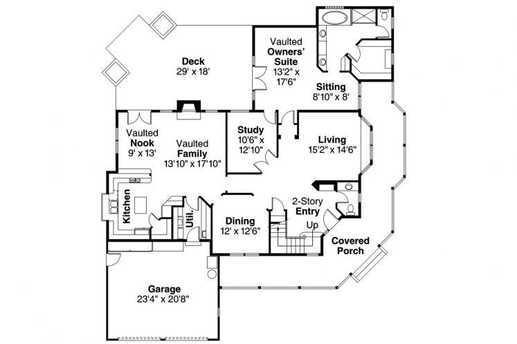 Country House Plan - Hearthstone 40539 - 1st Floor Plan