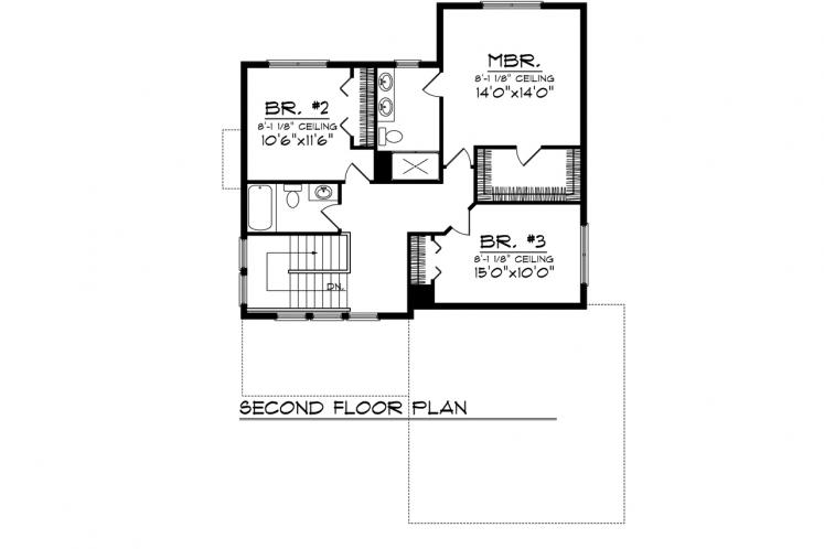 Traditional House Plan -  40557 - 2nd Floor Plan