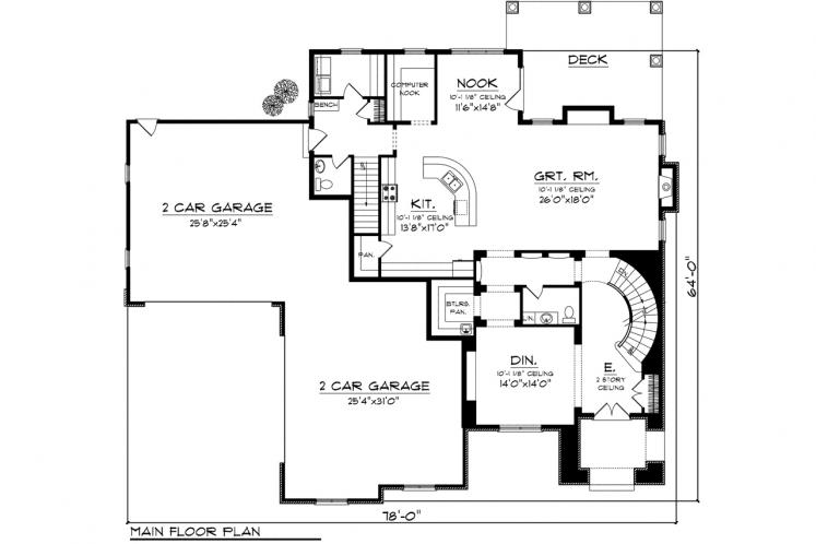 European House Plan -  40658 - 1st Floor Plan