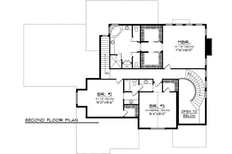 Traditional House Plan -  40658 - 2nd Floor Plan
