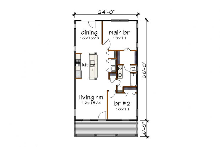 Cottage House Plan -  41103 - 1st Floor Plan