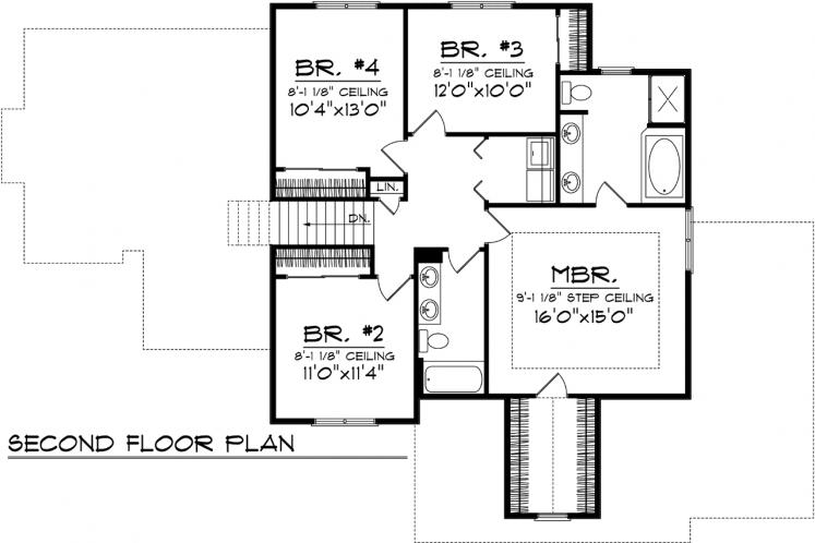 Country House Plan -  41350 - 2nd Floor Plan