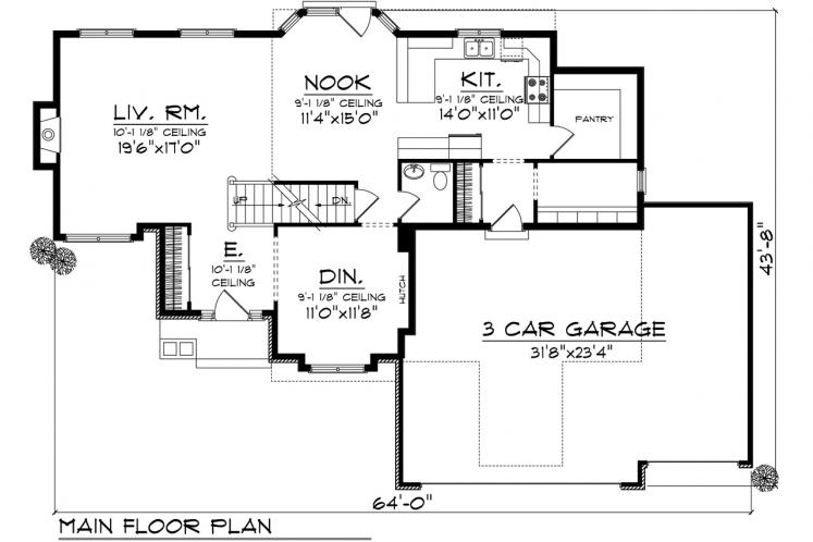 Traditional House Plan -  41350 - 1st Floor Plan