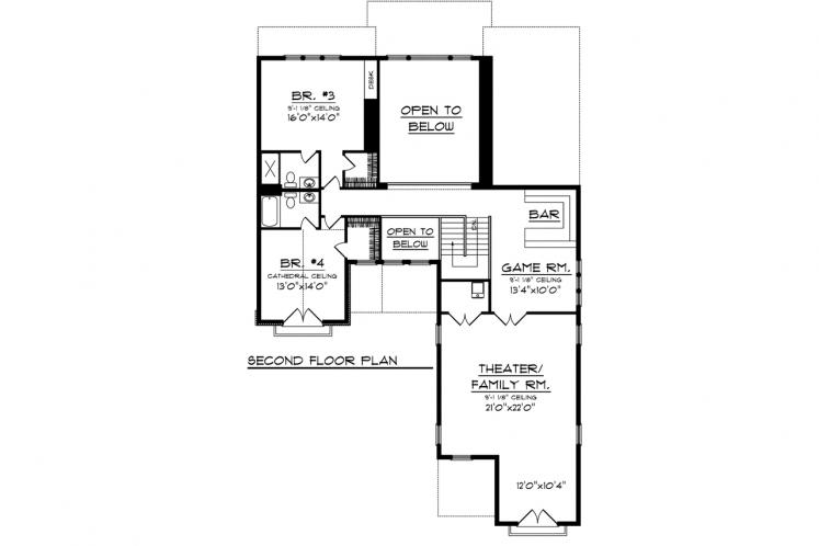 Tuscan House Plan -  41535 - 2nd Floor Plan
