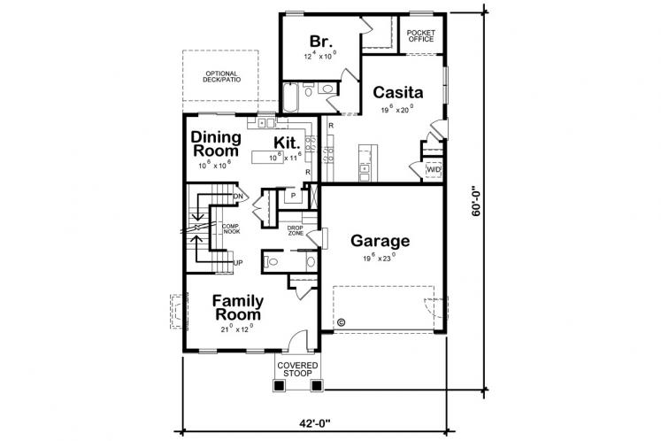 Cottage House Plan - Westerly Cottage 41646 - 1st Floor Plan