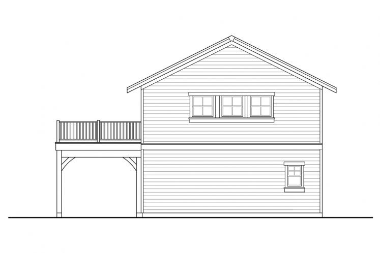 Traditional Garage Plan -  41718 - Rear Exterior