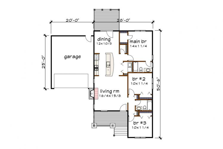 Cottage House Plan -  41731 - 1st Floor Plan