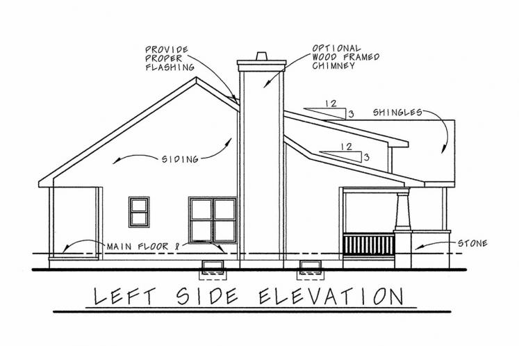 Ranch House Plan - Kendrick 41825 - Left Exterior