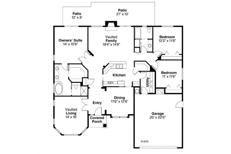 Ranch House Plan - Arvada 41850 - 1st Floor Plan
