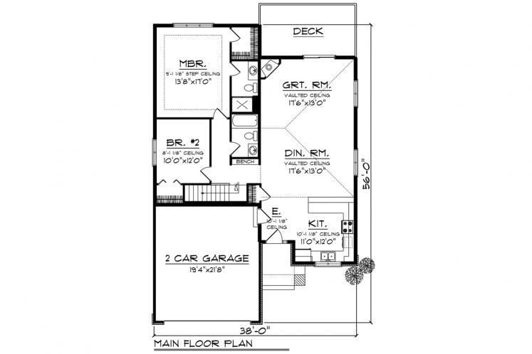 Ranch House Plan -  41889 - 1st Floor Plan