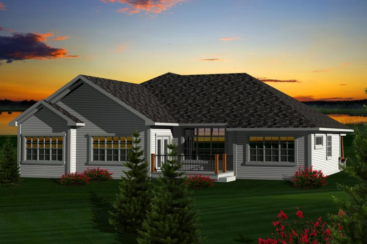 Ranch House Plan -  41933 - Rear Exterior