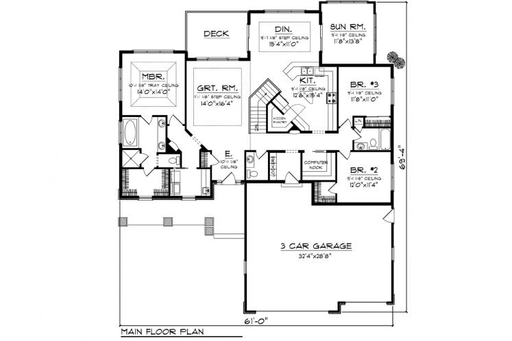 Craftsman House Plan -  41933 - 1st Floor Plan