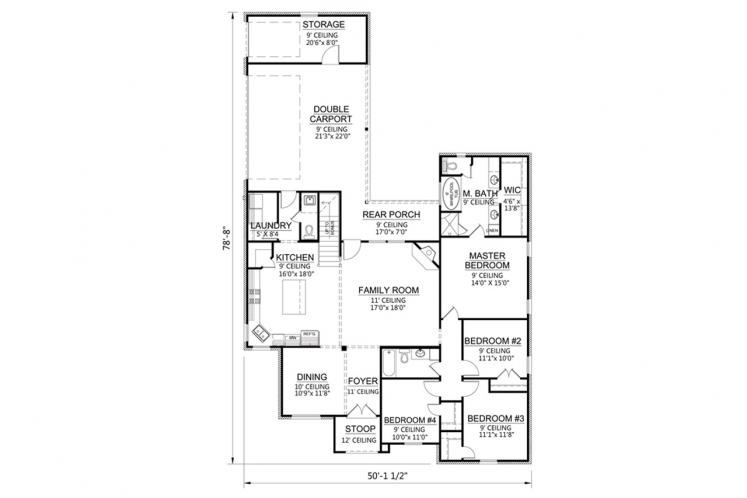 Classic House Plan - Bocage  41973 - 1st Floor Plan