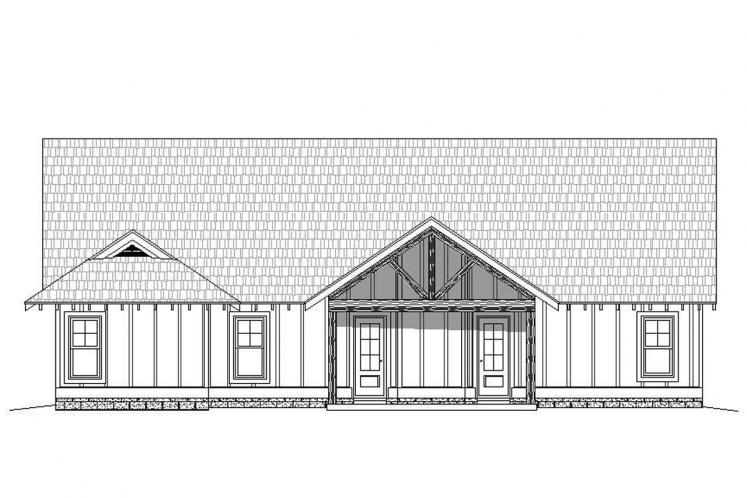 Craftsman House Plan -  42021 - Rear Exterior