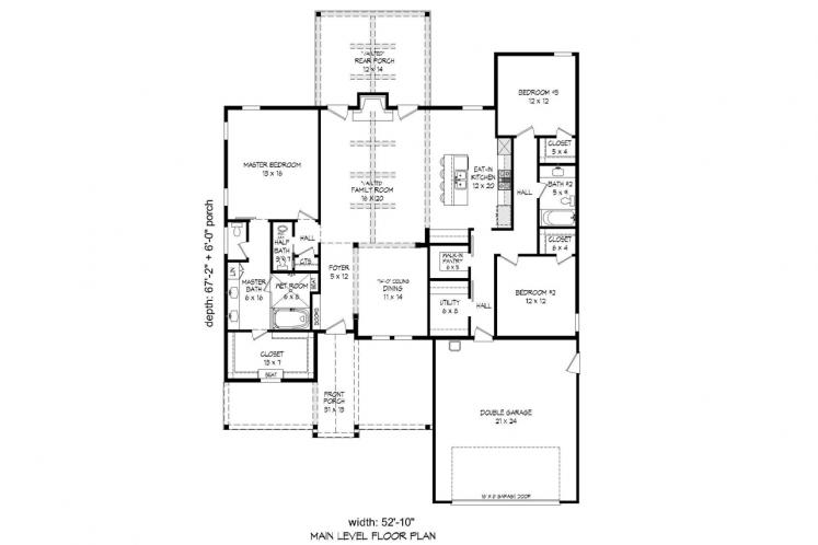 Craftsman House Plan -  42021 - 1st Floor Plan