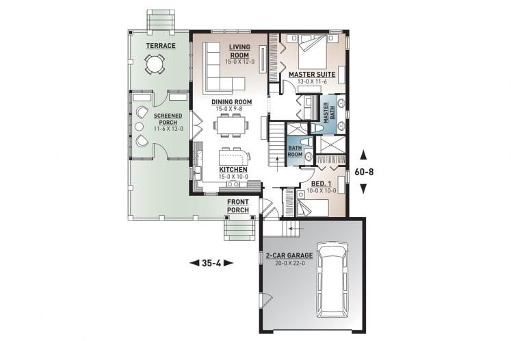 Country House Plan - The Gallagher 2 42163 - 1st Floor Plan