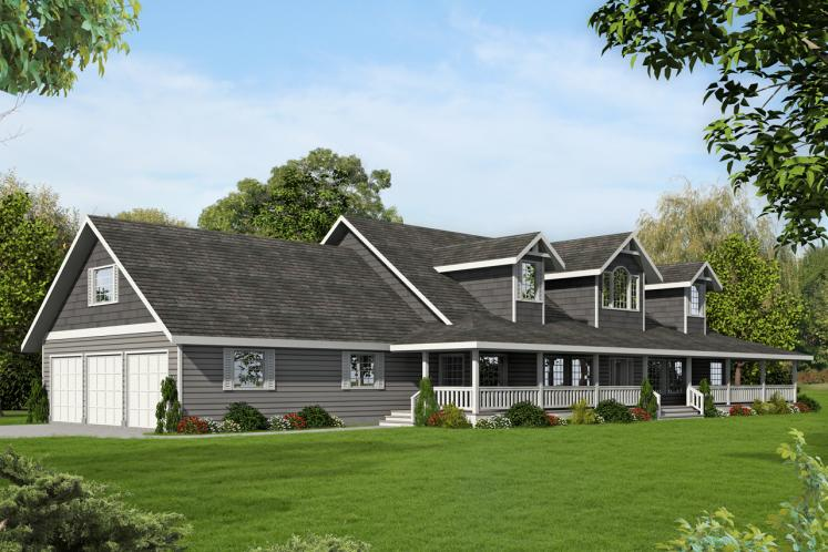Lodge Style House Plan -  42210 - Front Exterior