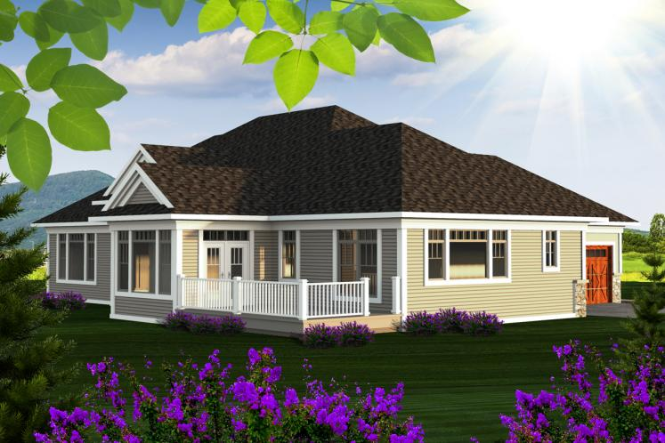 Craftsman House Plan -  42335 - Rear Exterior