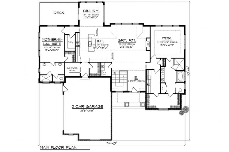 Ranch House Plan -  42335 - 1st Floor Plan