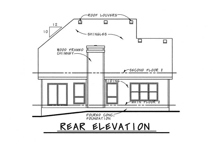 Traditional House Plan - Watson 42463 - Rear Exterior