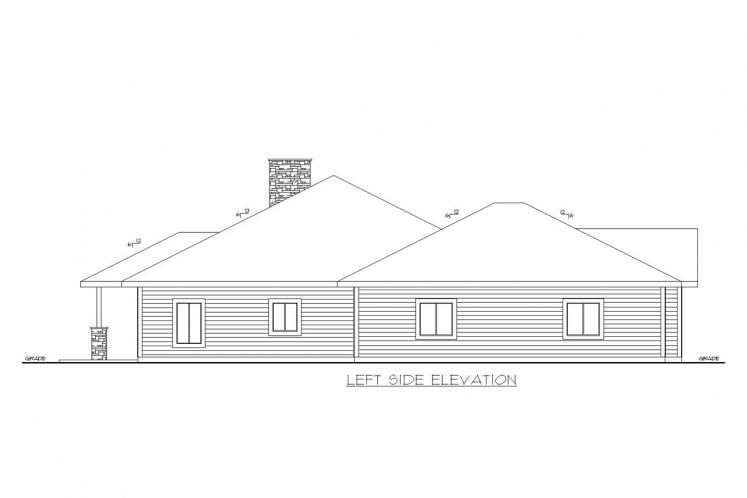 Traditional House Plan -  42862 - Left Exterior