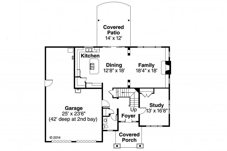 Traditional House Plan - Forest Grove 43013 - 1st Floor Plan