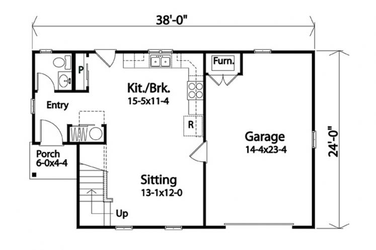 Cottage House Plan -  43038 - 1st Floor Plan