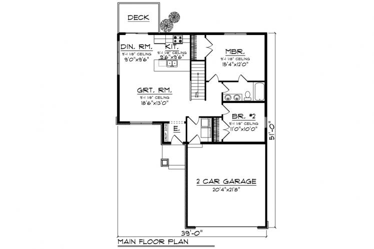 Traditional House Plan -  43240 - 1st Floor Plan