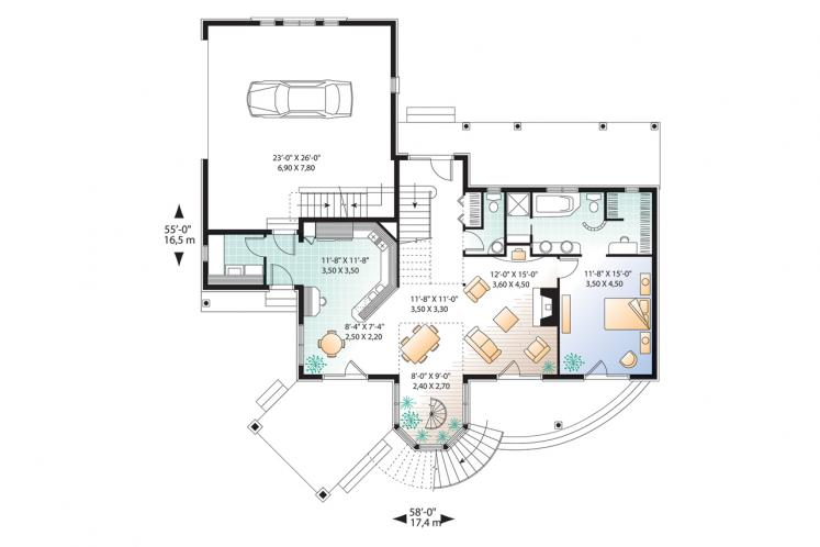Country House Plan - The Wind Song 2 43344 - 1st Floor Plan