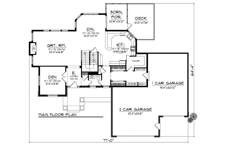 Traditional House Plan -  43427 - 1st Floor Plan
