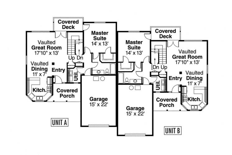 Cottage Multi-family Plan - Kirkwood 43443 - 1st Floor Plan