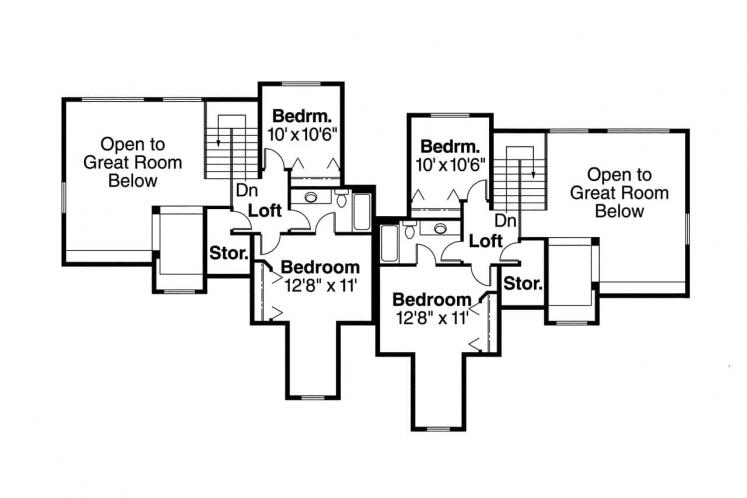 Traditional Multi-family Plan - Kirkwood 43443 - 2nd Floor Plan